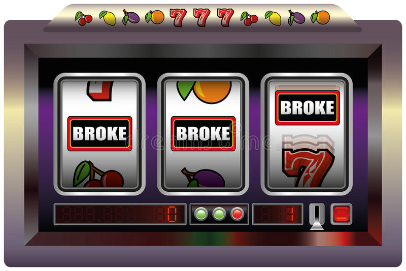 Slot Machine Broke. Illustration of a slot machine with three reels, slot machine symbols and the lettering BROKE. Isolated vector on white background