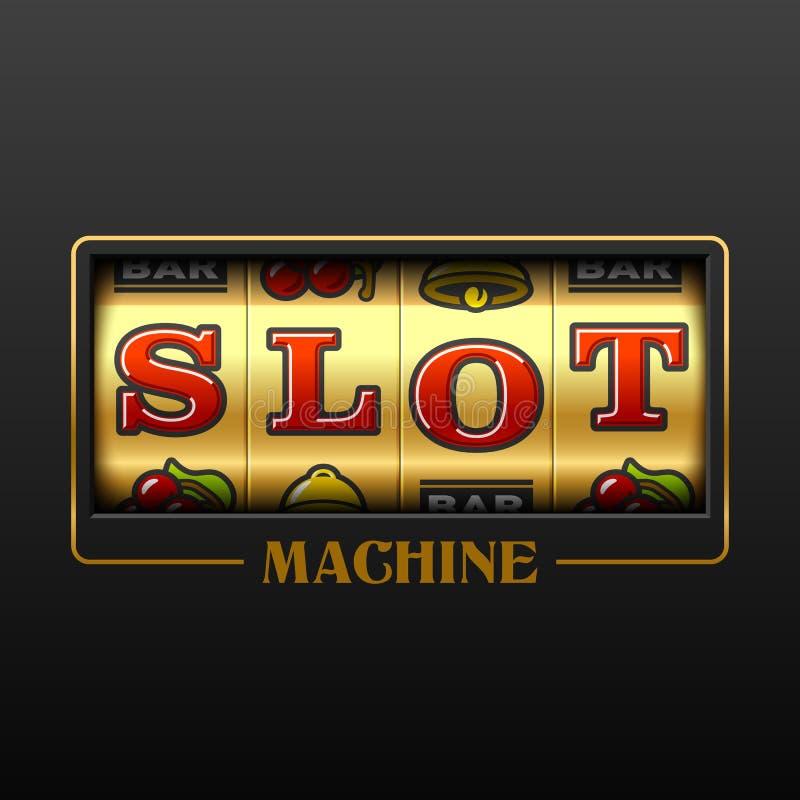 Slot machine. Casino advertising design element vector illustration