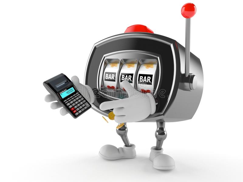 Slot machine character using calculator royalty free illustration
