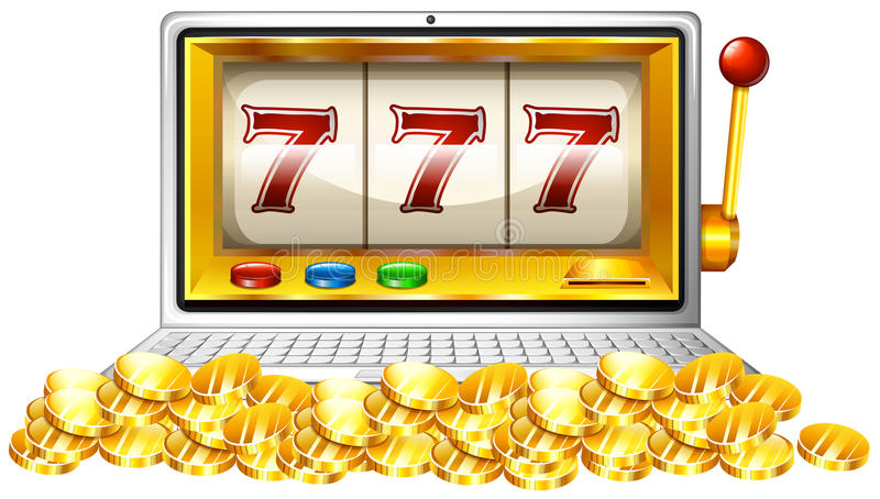 Slot machine and coins on computer screen royalty free illustration