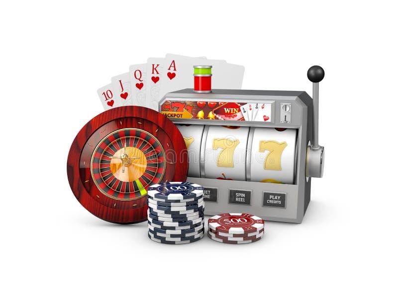 Slot machine com jackpot, conceito do casino, ilustração 3d de elementos dos jogos do casino ilustração stock