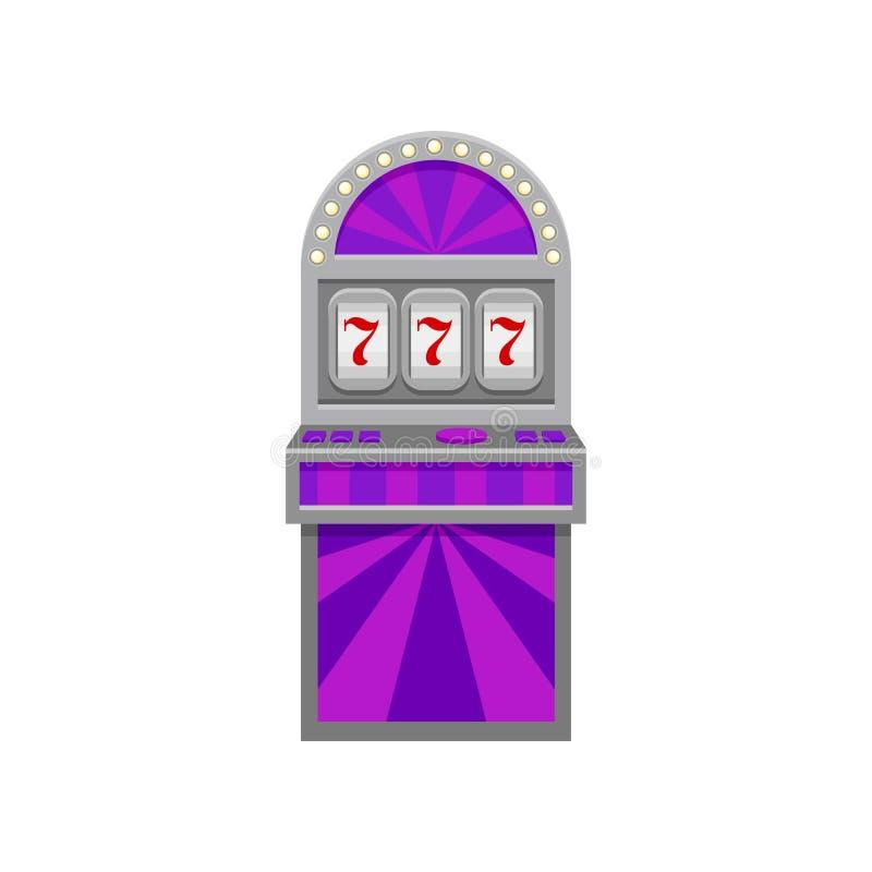 Slot machine com símbolo afortunado 777 Sinal do vencedor Casino e tema do entretenimento Elemento liso do vetor para a bandeira  ilustração royalty free