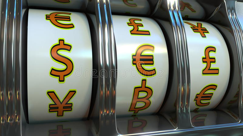 Slot machine com símbolos de moedas diferentes - dólar, euro, libra Conceitos dos estrangeiros, da fortuna ou da sorte do ` s do  fotos de stock royalty free