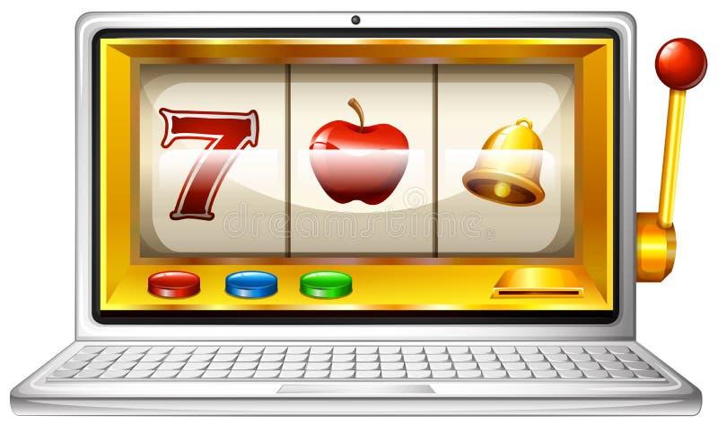 Slot machine on computer display royalty free illustration