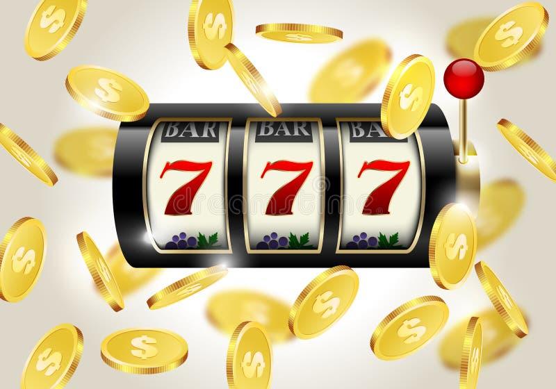 Slot machine con sette fortunati e fondo dorato di caduta delle monete Casinò del vincitore illustrazione di stock