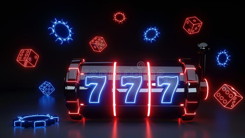 Slot Machine Concept With Glowing Neon Isolated On The Black Background - 3D Illustration. Slot Machine Concept With Glowing Neon Isolated On The Black royalty free illustration