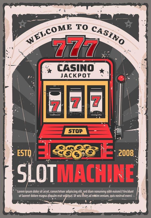 Slot machine da caça-níqueis do pôquer do casino ilustração royalty free