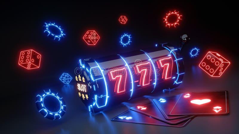 Slot machine de jogo e conceito dos ?s com a de n?on de incandesc?ncia isolada no fundo preto - ilustra??o 3D ilustração stock