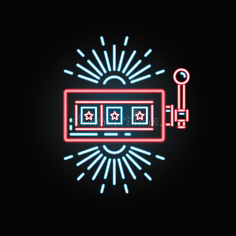 Slot machine de néon do casino para o casino do Internet ilustração stock