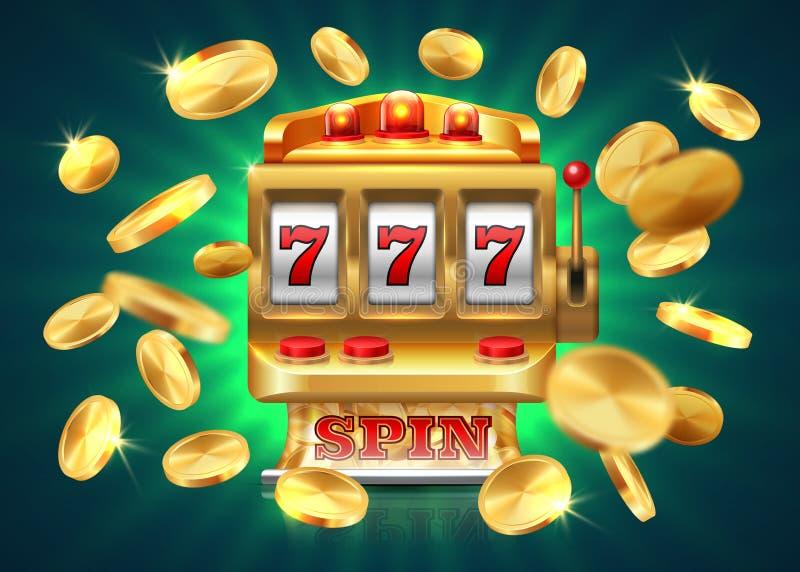 Slot machine del casinò 777 posta, fondo di conquista di lotteria del gioco, monete dorate volanti Macchina dorata di vettore illustrazione di stock