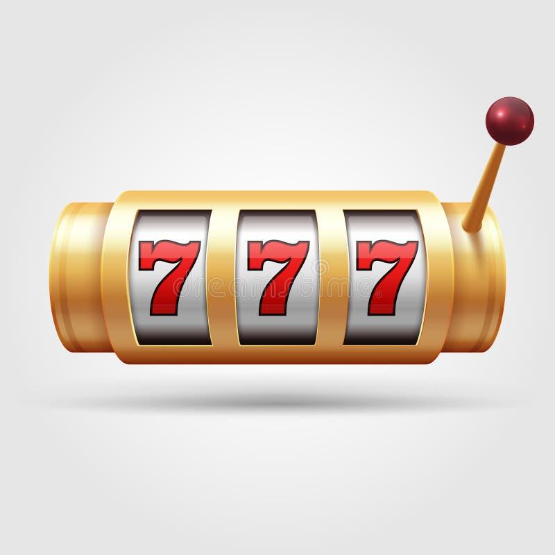 Slot machine do casino o carretel 3d de jogo, símbolo afortunado isolou a ilustração do vetor ilustração royalty free