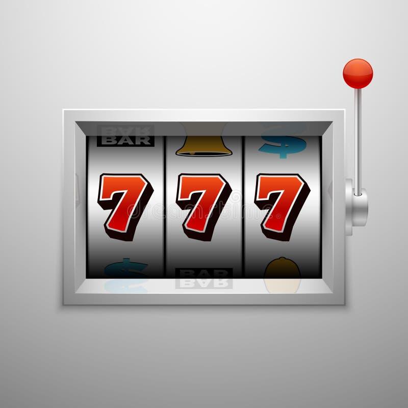 Slot machine do vetor com vitória afortunada do jackpot de sete casinos ilustração do vetor