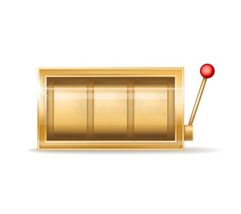 Slot machine dorato di vettore, attrezzatura del casinò di gioco illustrazione vettoriale