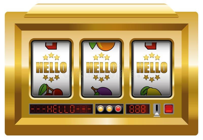 Slot machine dourado do olá! ilustração stock