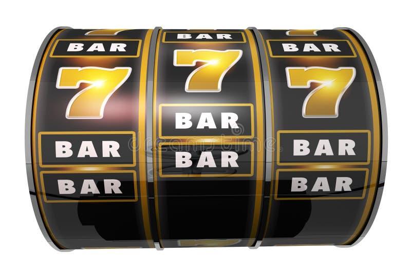 Slot Machine Drum Isolated. Casino Slot Machine Drum Isolated on Solid White Background. 3D Render Illustration royalty free illustration
