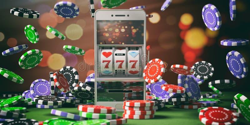Slot machine em uma tela do smartphone, em umas microplaquetas de pôquer e em um fundo abstrato ilustração 3D ilustração do vetor
