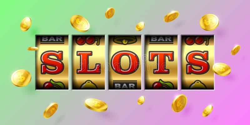 Slot machine gambling game casino banner vector illustration