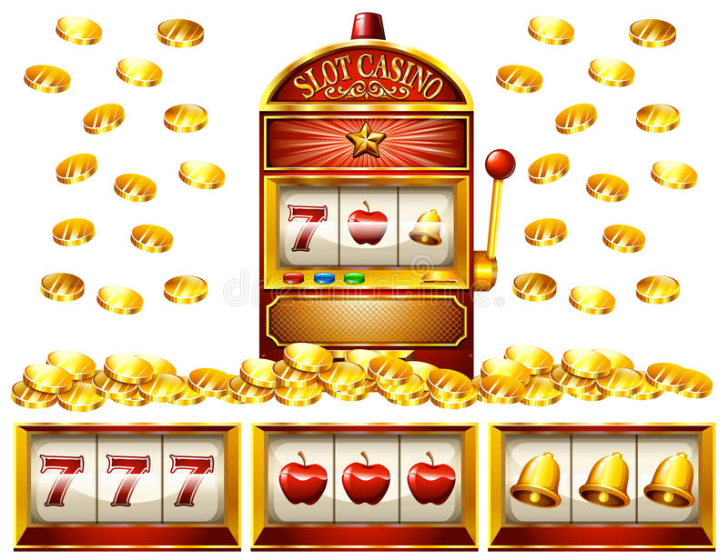 Slot machine and golden coins stock illustration