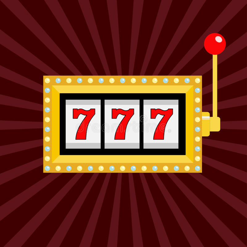 Slot machine. Golden color Glowing lamp light. 777 Jackpot. Lucky sevens. Red handle lever. Big win Online casino, gambling club s. Ign symbol. Flat design stock illustration