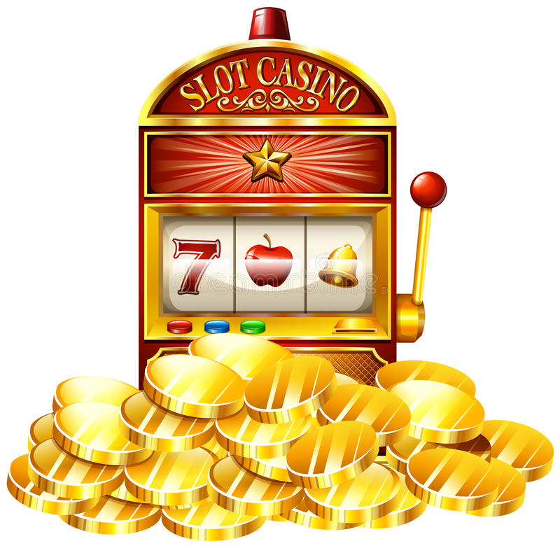 Slot machine with golden tokens stock illustration