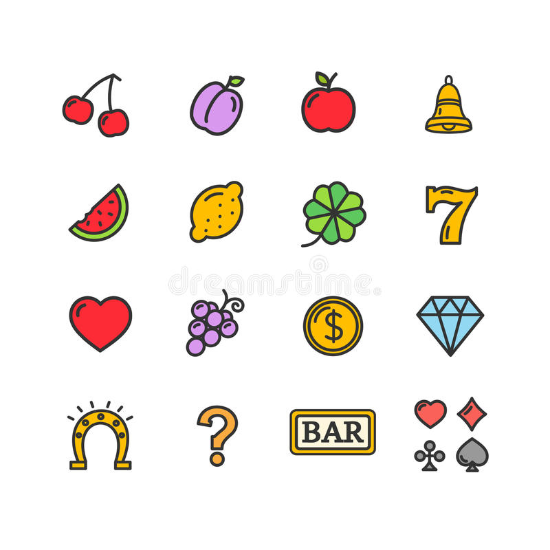 Slot Machine Icons Set. Vector royalty free illustration