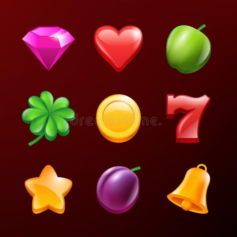 Slot machine icons. Vector realistic pictures isolate. Casino gambling symbols for game gamble illustration stock illustration