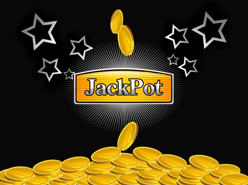 Slot-machine jackpot. With golden coins and stars on black background royalty free illustration