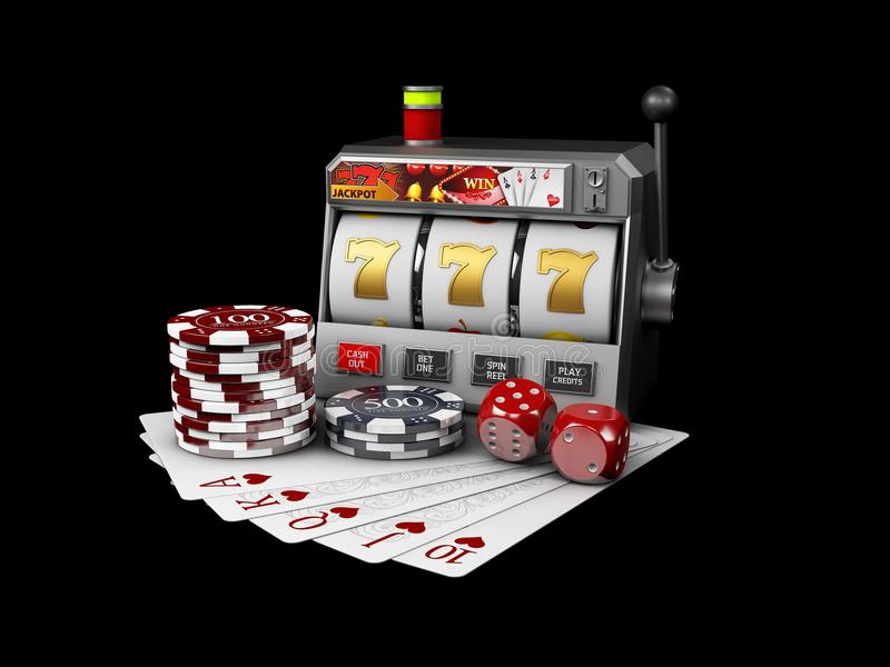 Slot Machine With Jackpot, Casino Concept, 3d Illustration Of Casino Games  Elements Stock Image - Image of background, casino: 126504541