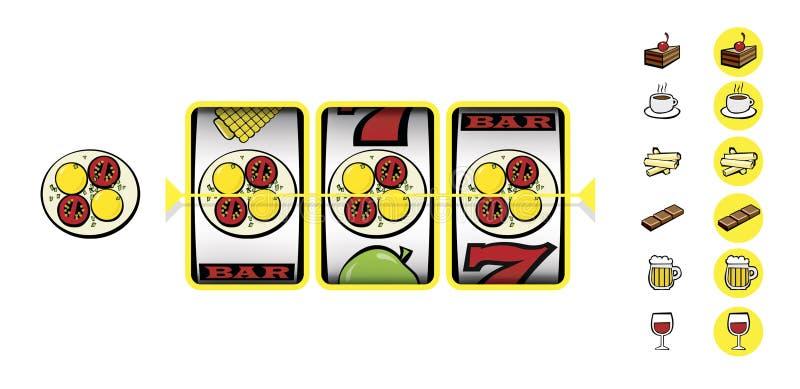 Slot machine, jackpot, dieta perigosa Ícones de produtos prejudiciais ilustração do vetor