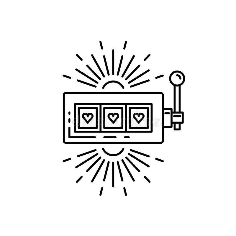 Slot machine jackpot. Slot machine, one arm bandit casino drawn in a flat lineal style. Outline icon slot machine where the jackpot falls, isolated on white stock illustration