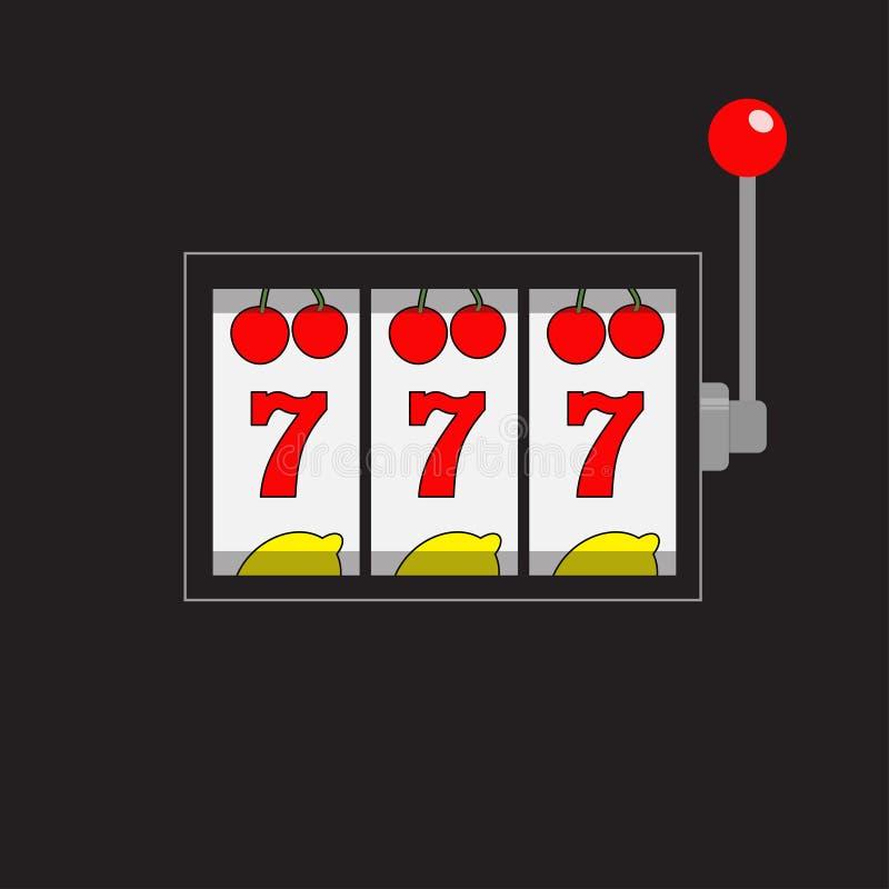 Slot machine Jackpot 777 Sevens afortunado Cereja, fileira do limão Alavanca vermelha do punho Casino em linha da vitória grande, ilustração do vetor