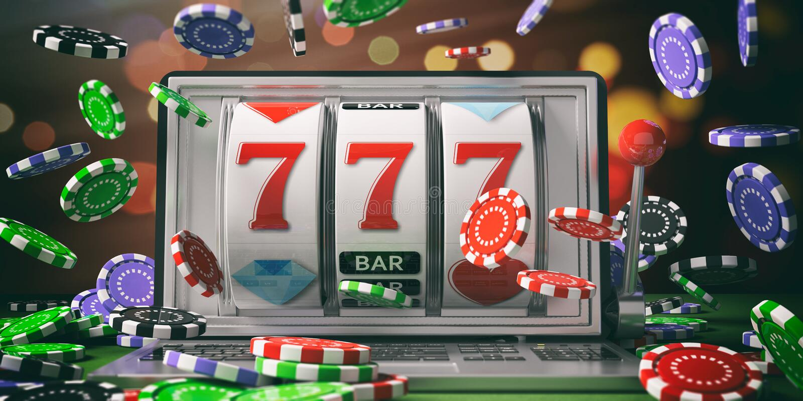 Slot machine on a laptop screen and falling poker chips. 3d illustration stock illustration