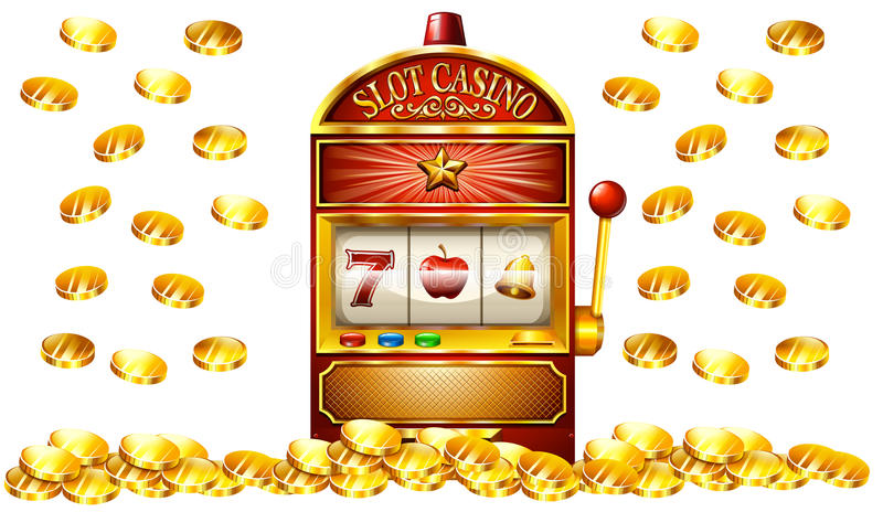Slot machine with lots of gold coins stock illustration
