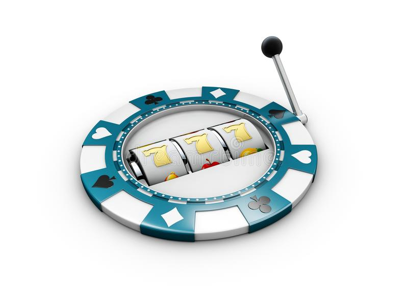 Slot machine with lucky sevens jackpot on the casino chip. 3d illustration.  royalty free stock photos