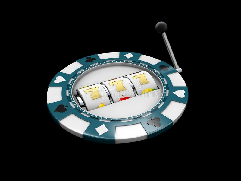 Slot machine with lucky sevens jackpot on the casino chip. 3d illustration isolated black.  royalty free stock images
