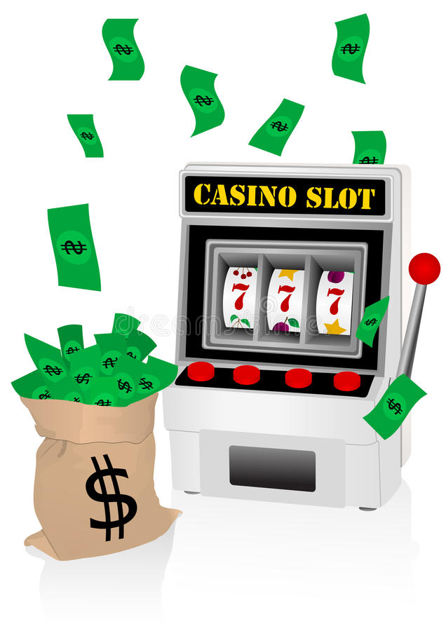 Slot machine and money. Casino illustration with slot machine and money stock illustration