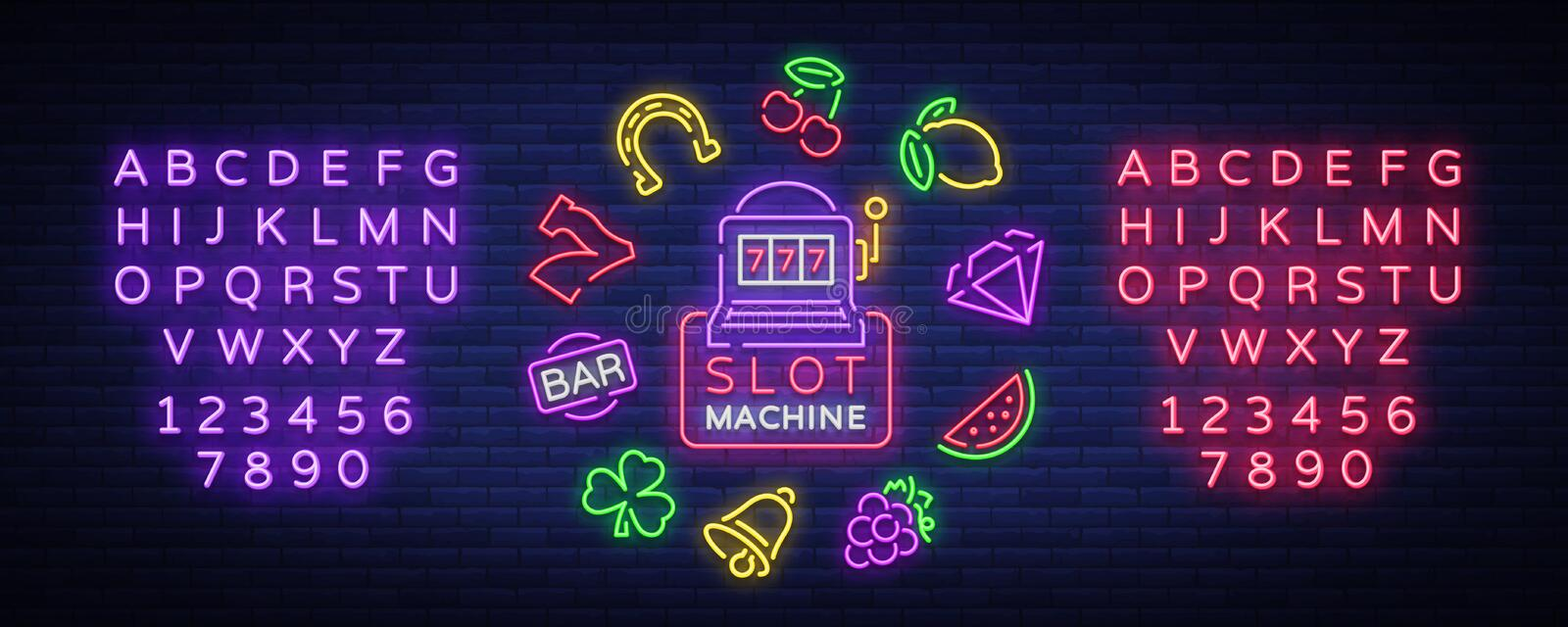 Slot machine is a neon sign. Collection of neon signs for a gaming machine. Game icons for casino. Vector Illustration. On Casino, Fortune and Gambling. Jackpot stock illustration