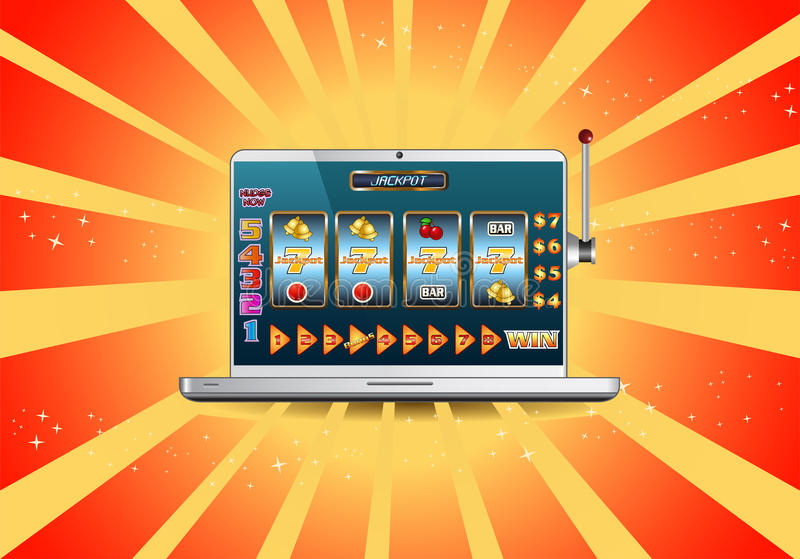 Slot machine online di posta sul computer portatile royalty illustrazione gratis