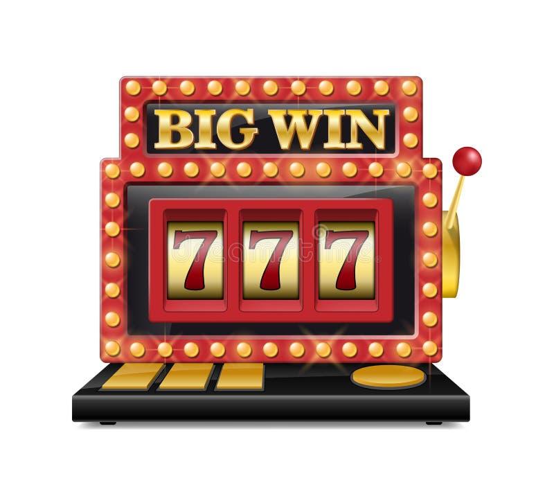 Slot machine para o casino, sete afortunados no jogo de jogo isolado no branco Máquina grande do casino da vitória do entalhe do  ilustração do vetor