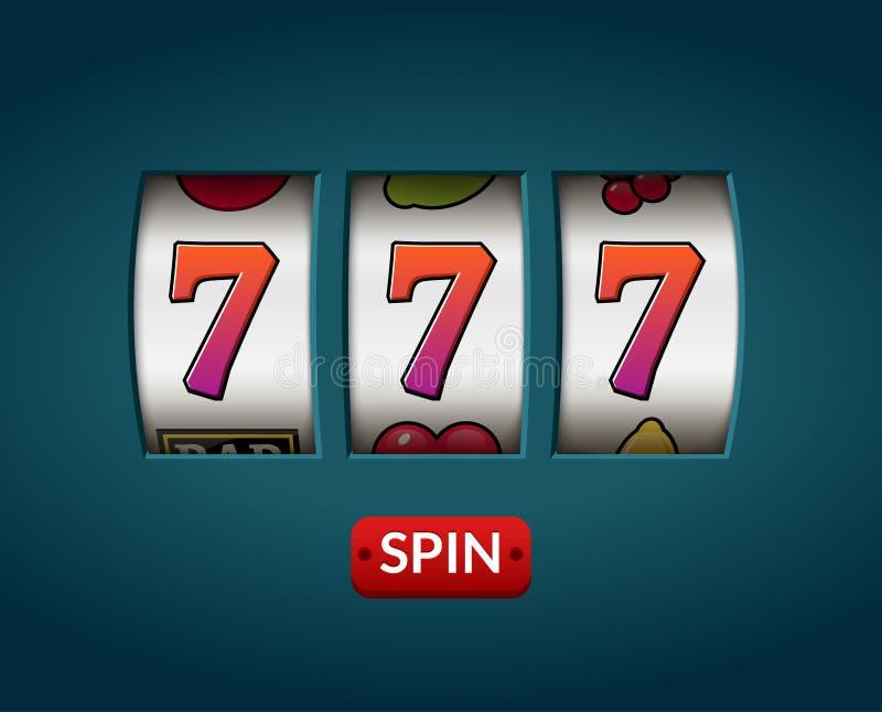 Slot machine sete 777 afortunado Jogo de vegas do casino Possibilidade de jogo da fortuna Dinheiro do jackpot da vitória ilustração royalty free