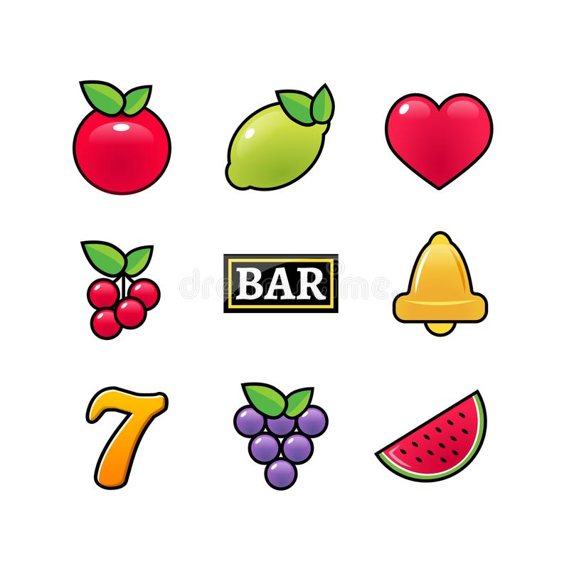 Slot machine symbols icons set. Casino gambling slot machine icons of fruit lemon seven bell stock illustration