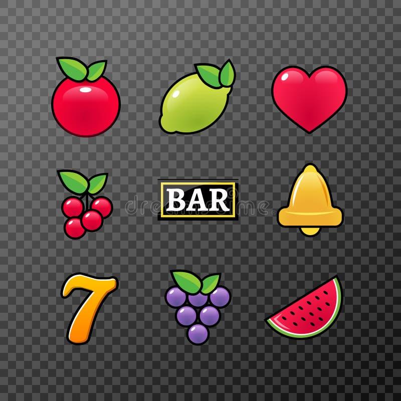 Slot machine symbols icons set. Casino gambling slot machine icons of fruit lemon seven bell royalty free illustration