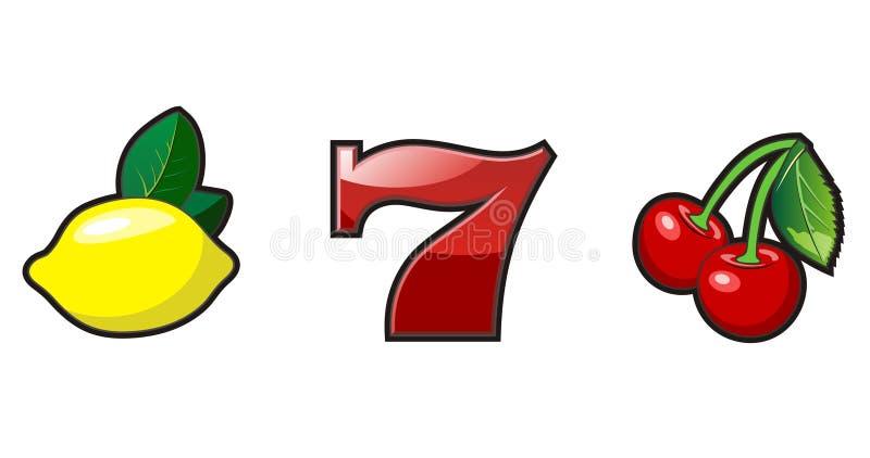 Slot machine symbols. Lemon, seven and cherry vector illustration