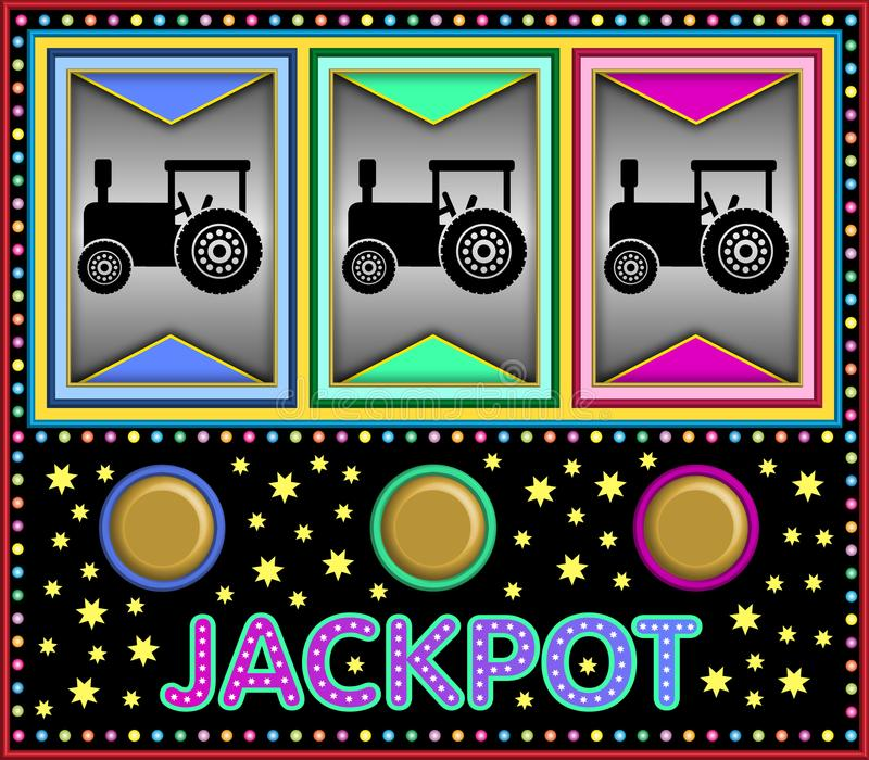 Slot machine with three toy tractors vector illustration