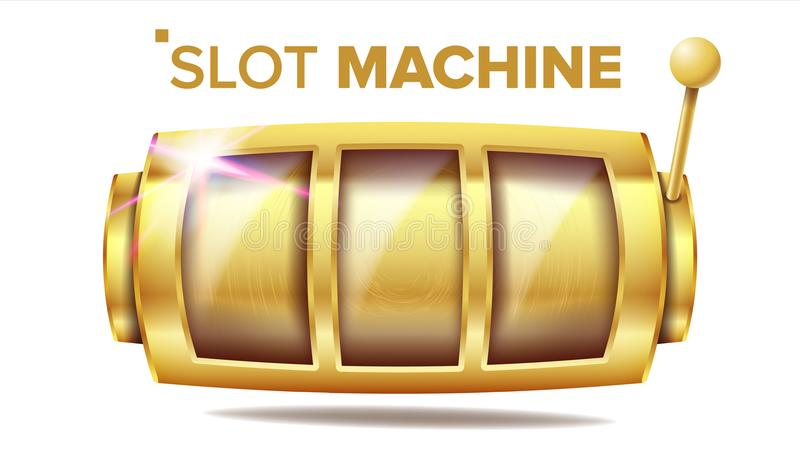 Slot Machine Vector. Golden Lucky Empty Slot. Gambling Poster. Spin Object. Fortune Jackpot Casino Illustration stock illustration