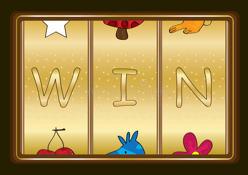 Slot Machine Win_eps. Illustration of slot machine win words on chocolate background. --- This .eps file info Document: A4 Paper Size Document Color Mode: CMYK vector illustration