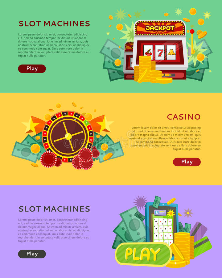 Slot Machines Casino Banners. Online Play Concept. Slot machines casino banners. Online casino flat illustration concept set. Design for web banners, websites vector illustration