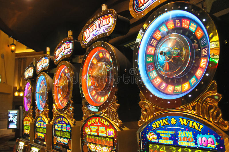 Slot machines in New York-New York Hotel and Casino in Las Vegas stock images