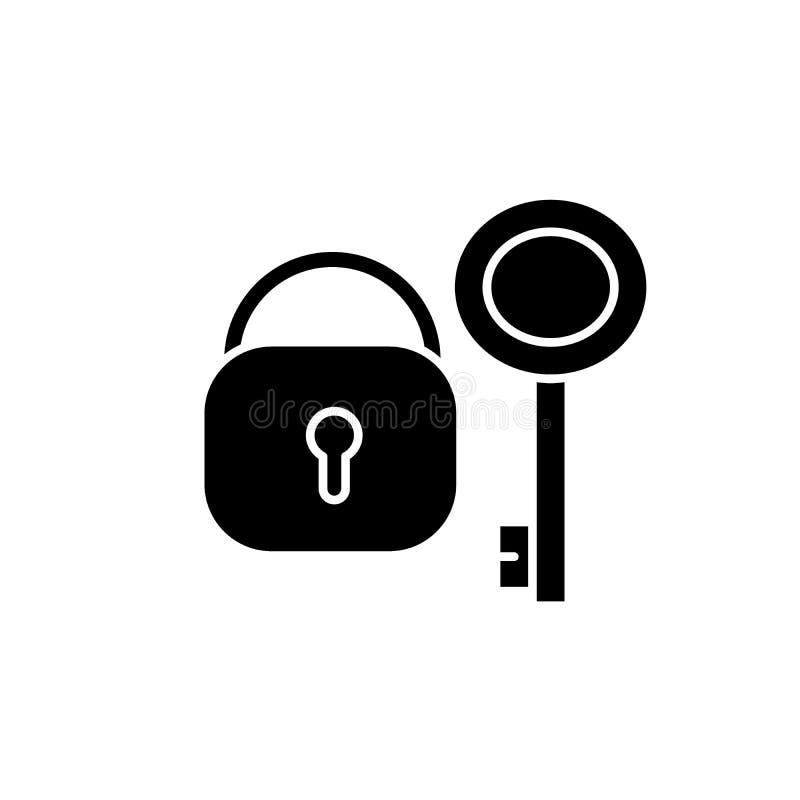 Slot met zeer belangrijk zwart pictogram, vectorteken op geïsoleerde achtergrond Slot met zeer belangrijk conceptensymbool, illus vector illustratie