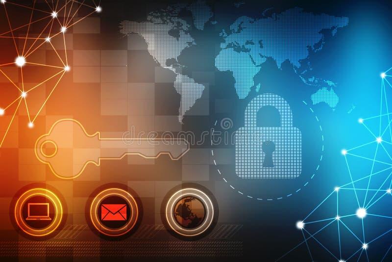 Slot op digitale achtergrond, Cyber-Veiligheid en Internet-Veiligheid royalty-vrije illustratie